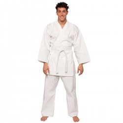 Kimono de karate blanco económico y ligero para principiante de algodón 100% de gama básica para niños y adultos