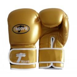 Guantes boxeo PVC dorado efecto carbono brillante.