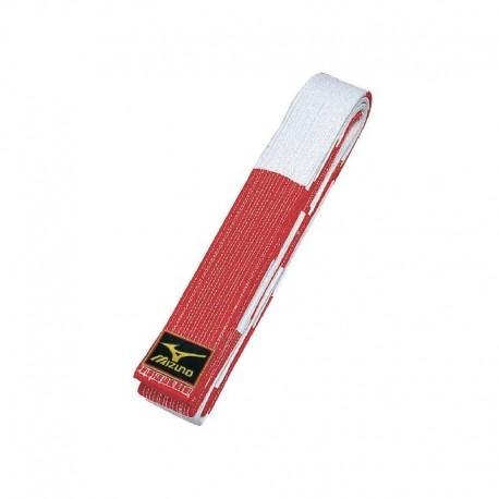 Cinturon MIZUNO blanco-rojo de 6º Dan.