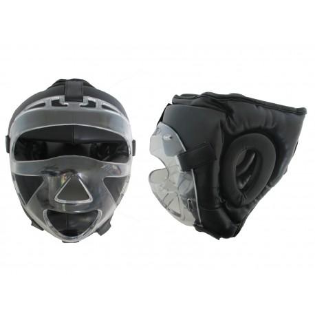 Casco con máscara transparente desmontable.