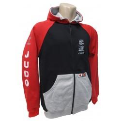 Sudadera tricolor Judo, con capucha y bolsillos.